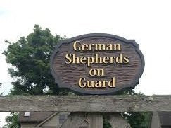 German Shepherds on guard beware of dogs sign - front