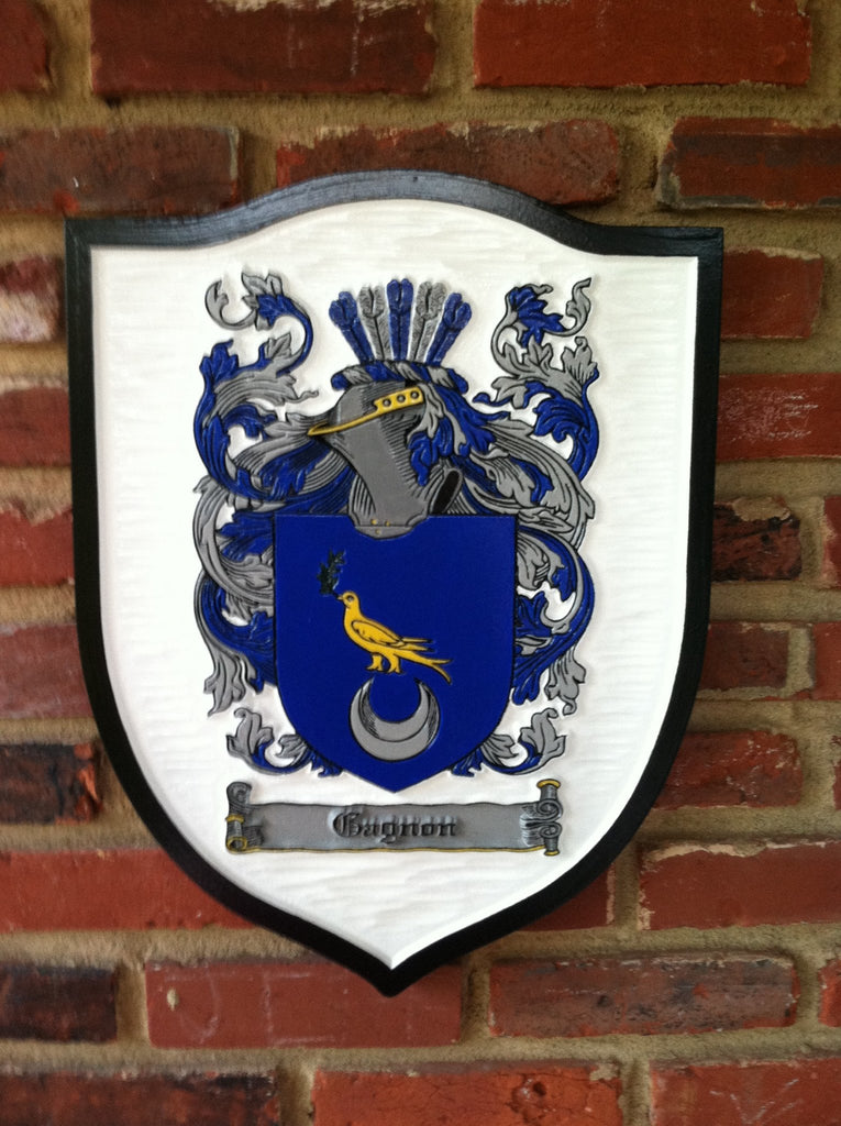 Coughlan family crest sign on shield shape