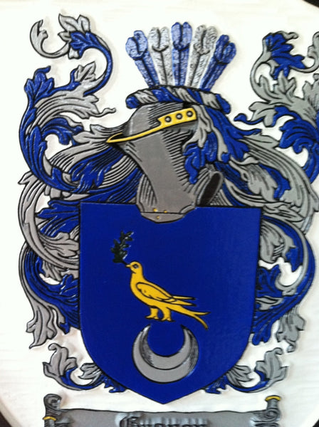 Coughlan family crest sign on shield shape -close up