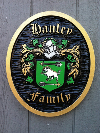 Family Crest / Coat of Arms - Carved and made to order (FC8) - The Carving Company