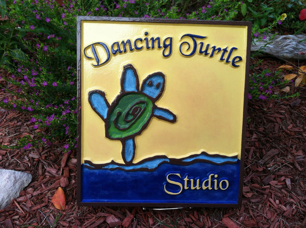 Dancing Turtle kid's artwork sign -front