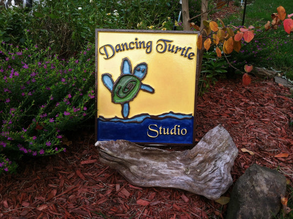 Dancing Turtle kid's artwork sign -front2