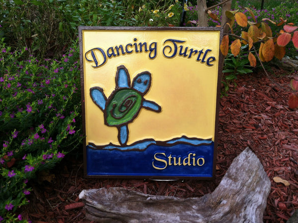 Dancing Turtle kid's artwork sign -front3
