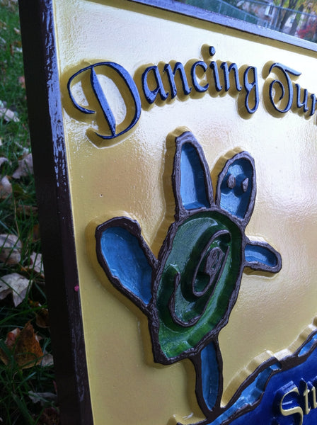 Dancing Turtle kid's artwork sign -iso1