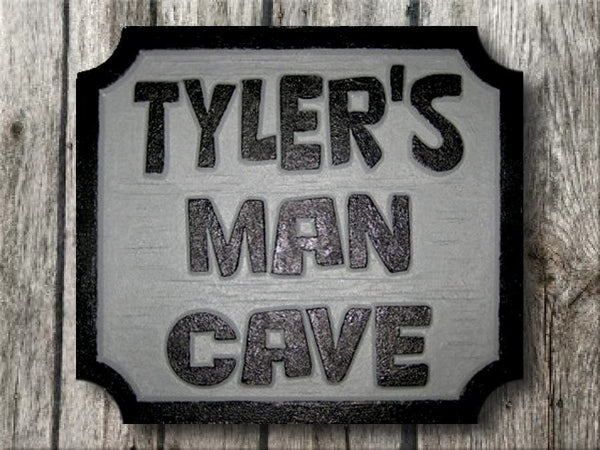 Man cave sign black and white