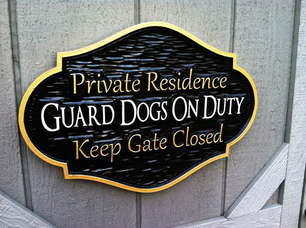 Private residence guard dogs on duty sign -iso