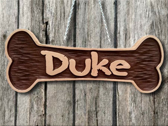 Personalized and Carved Pet Name Bone Sign  (P3) - The Carving Company