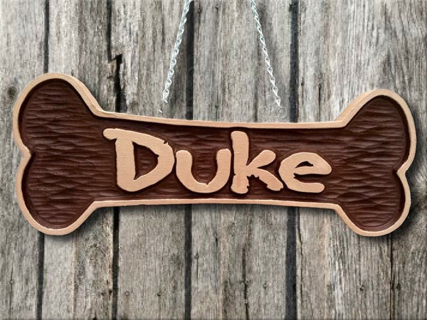Dog bone sign with pet name -Duke