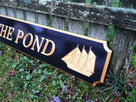 Custom Carved Quarterboard sign with sailing ships  (Q7) - The Carving Company