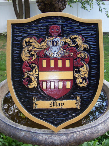May family crest sign with textured background