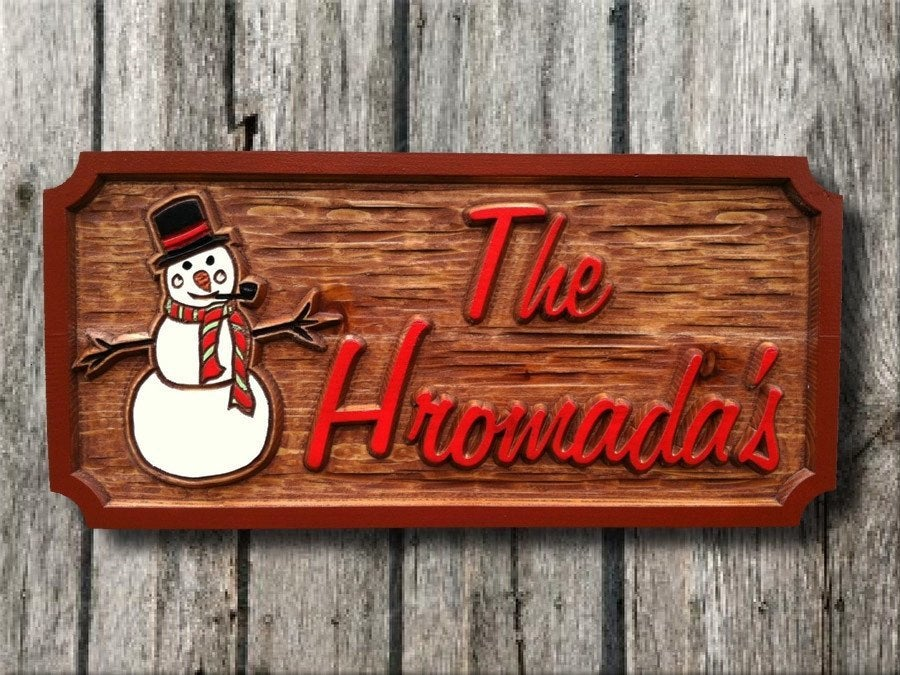 Custom Wood Carved Last name Holiday Sign with Snowman - Solid Cedar (H2) - The Carving Company