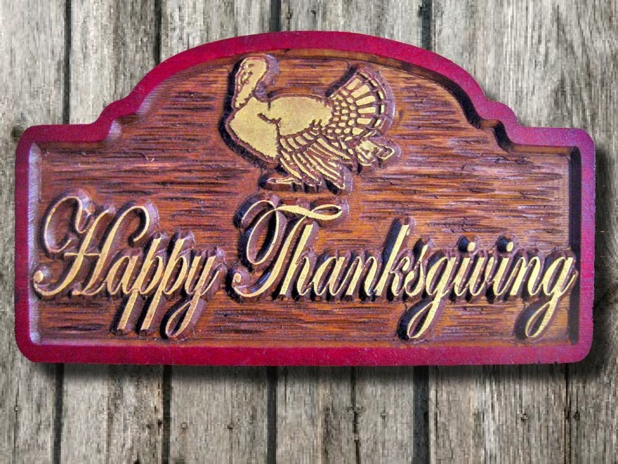 Happy Thanksgving Centerpiece - Carved Wood Sign (H4) - The Carving Company