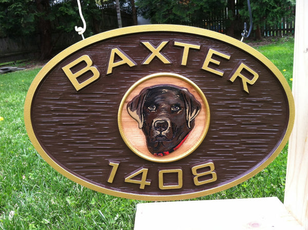 Baxtor oval house number with dog image sign -front