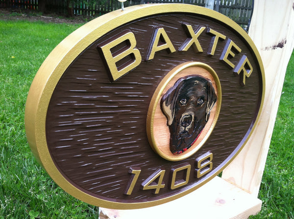 Baxtor oval house number with dog image sign -iso