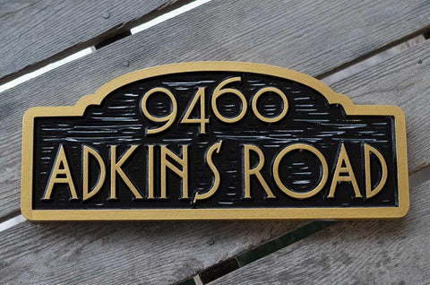 Adkins Road black and gold address sign rectangle with arch