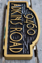 Arched top House number sign with Street Address (A91) - The Carving Company