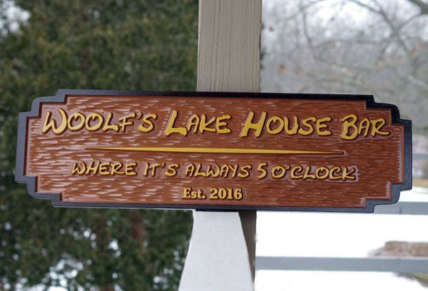 Custom carved Woolf's Lake House Bar sign rectangle