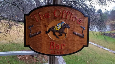 The Office Bar cedar carved sign with horse and jockey
