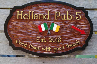 Custom Carved Cedar Wood Bar Sign - Design your own (BP53) - The Carving Company
