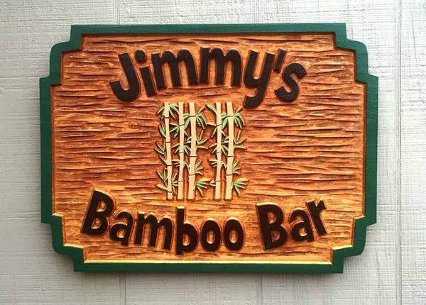 Custom carved rectangle cedar bar sign with name and bamboo image