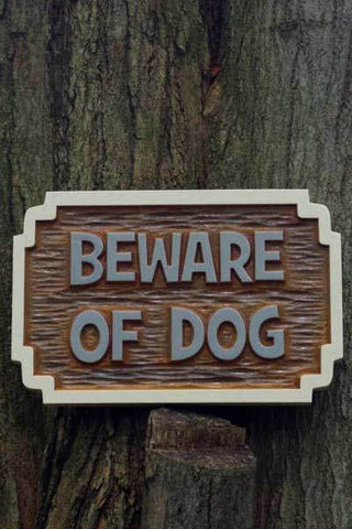 Beware of dog cedar sign - front view
