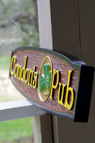 Custom Carved Cedar Pub Sign with Shamrock - horizontal (BP14) - The Carving Company