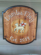 Custom Carved Cedar sign for Bar, Pub, or Tavern with Lamb and England image (BP50) - The Carving Company