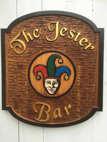 Cedar Bar Sign with Jester Image and black border