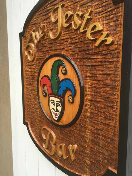 Custom Carve Cedar Bar Sign with Jester Image and black border