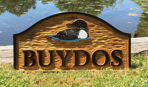 Personalized carve cedar camp sign with last name and hand painted loon