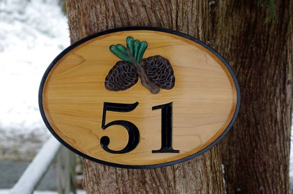 Custom wood house number sign with pinecone or maple leaf image