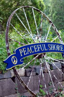 Peaceful shore curved quarterboard - blue and gold - front