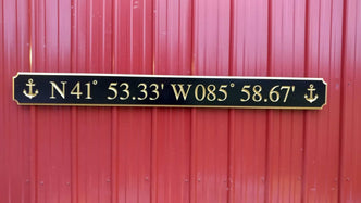 Coordinates Sign - Custom Carved Quarterboard - Add your Coordinates or Text  (Q50) - The Carving Company