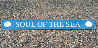 Soul of the sea quarterboard painted blue and silver