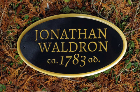Custom carved builder year plaque