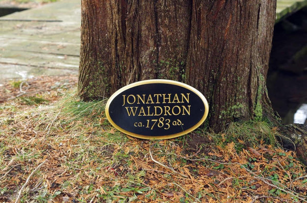 Historic name plaque painted black and gold