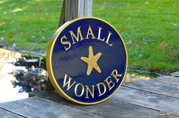 House name sign name Small Wonder with starfish painted navy blue and gold