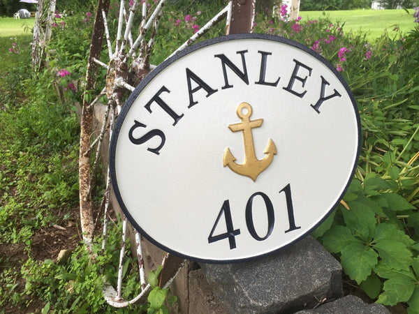 Maritime theme house number sign with last name and anchor