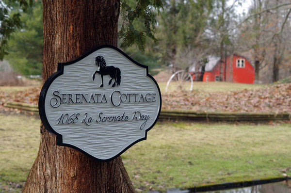 Cottage Sign with horse and address carved on