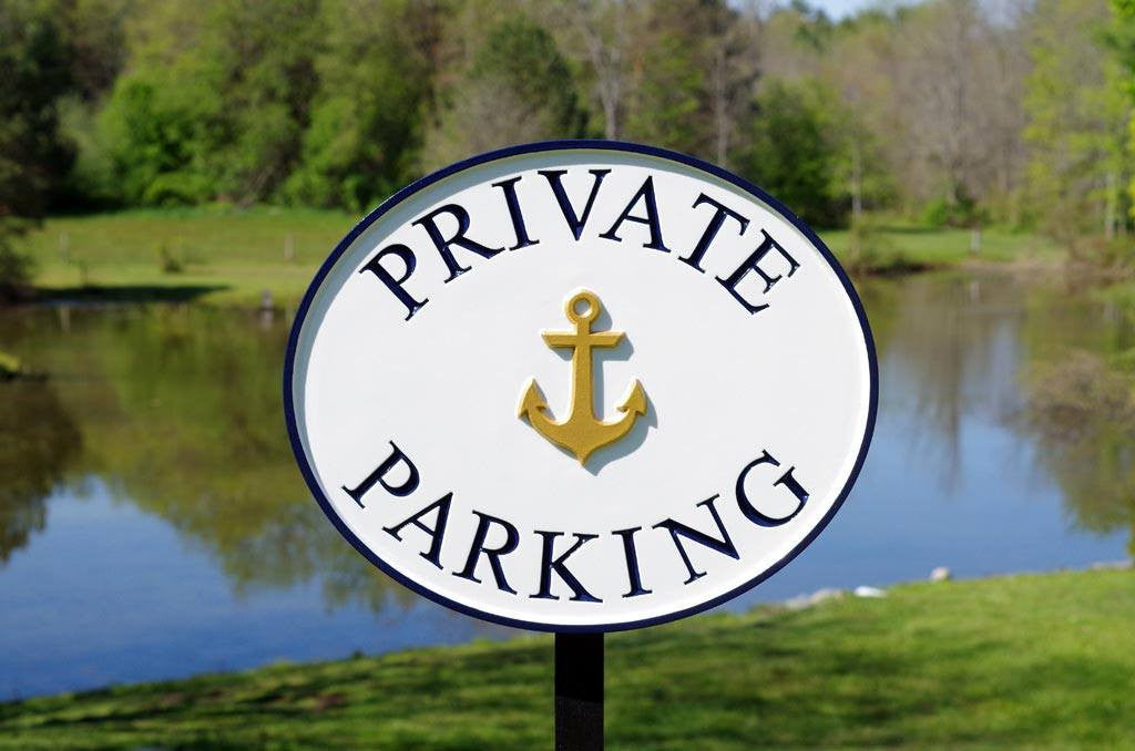 Custom made Private Parking sign with anchor image