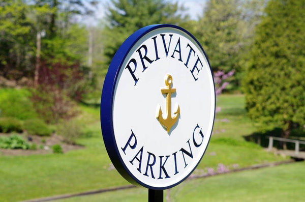 Custom made Private Parking sign with gold anchor image