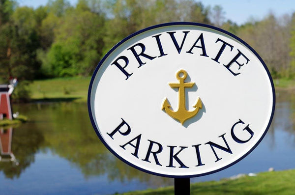 Custom carved Private Parking sign with anchor image for business