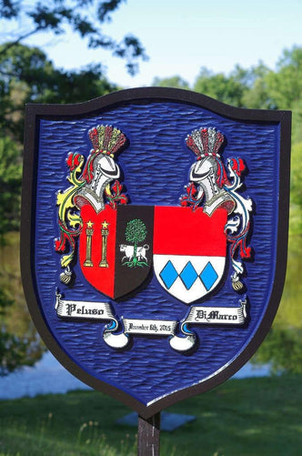 Custom Historic Family Crest Sign - Coat of arms - Double Name Shield (FC14) - The Carving Company