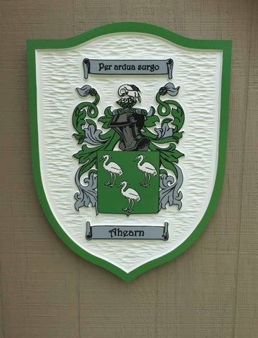 Ahearn family crest custom carved