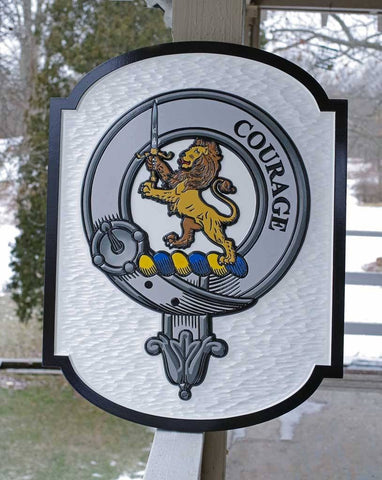 Courage Clan Badge crest with lion family sign black border Coat of Arms carved