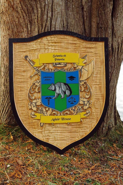 family crest sign wood