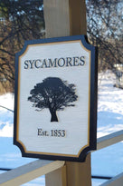Personalized Entrance Name Sign With Tree or other image - Custom Carved Family Sign (LN41) - The Carving Company