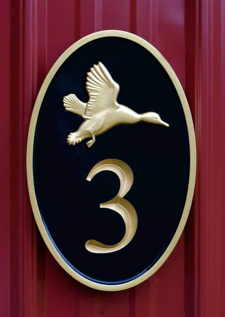 NEW! - House number sign with Realistic Flying Duck - Carved Street address marker front view (A179) - The Carving Company