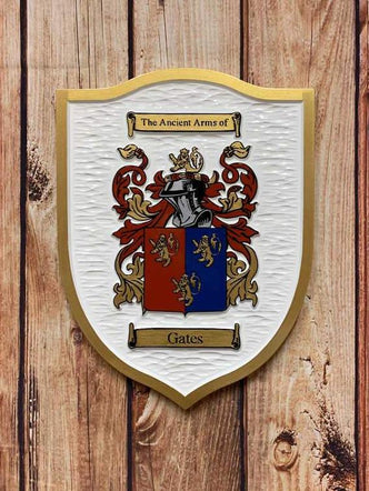 Add Your Own Family Crest /  Coat of Arms / Family Shield Custom Carved (FC26)