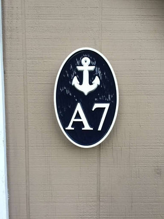 Carved Street Address plaque / House number and letter with anchor (A138) - The Carving Company